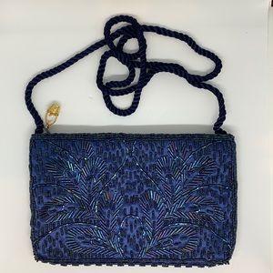 gorgeous navy blue beaded evening bag